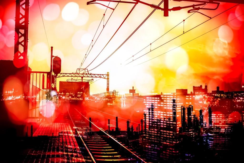 赤色に染まる都会